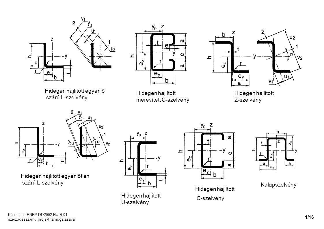 Hidegen hajlított egyenlő szárú L-szelvény Hidegen hajlított egyenlőtlen szárú L-szelvény Hidegen hajlított C-szelvény Hidegen hajlított merevített C-