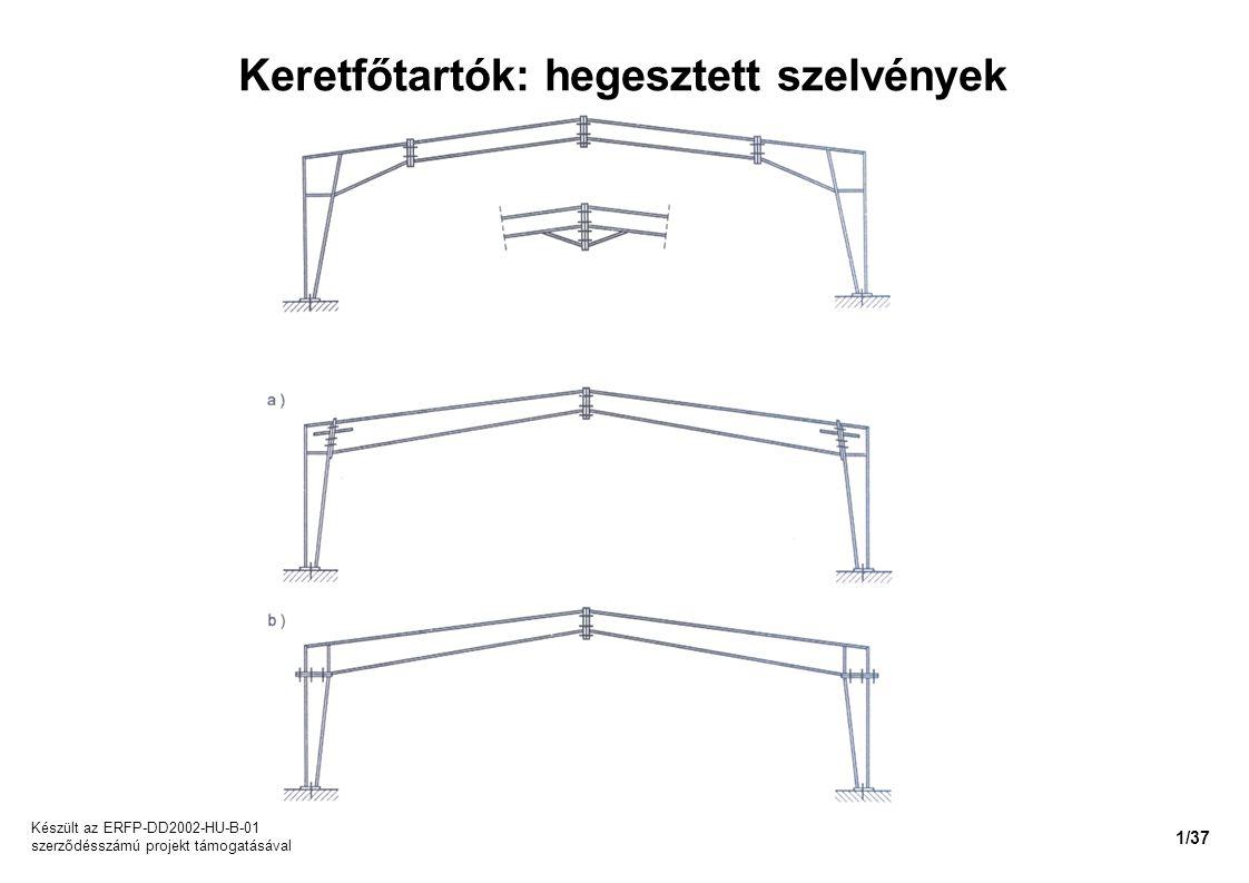Keretfőtartók: hegesztett szelvények Készült az ERFP-DD2002-HU-B-01 szerződésszámú projekt támogatásával 1/37