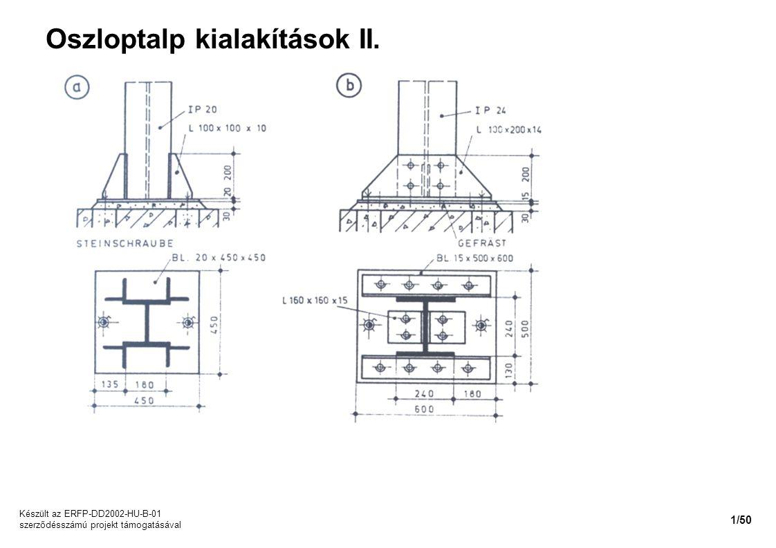 Oszloptalp kialakítások II. Készült az ERFP-DD2002-HU-B-01 szerződésszámú projekt támogatásával 1/50