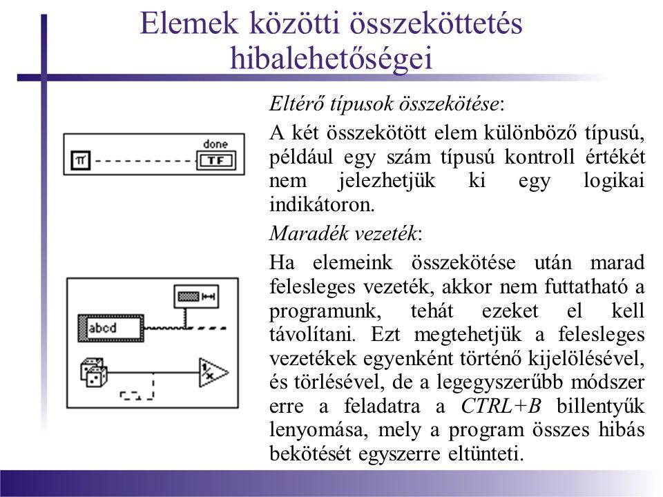 Elemek közötti összeköttetés hibalehetőségei Eltérő típusok összekötése: A két összekötött elem különböző típusú, például egy szám típusú kontroll ért