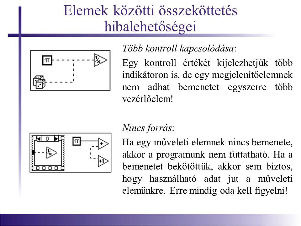 Elemek közötti összeköttetés hibalehetőségei Több kontroll kapcsolódása: Egy kontroll értékét kijelezhetjük több indikátoron is, de egy megjelenítőele