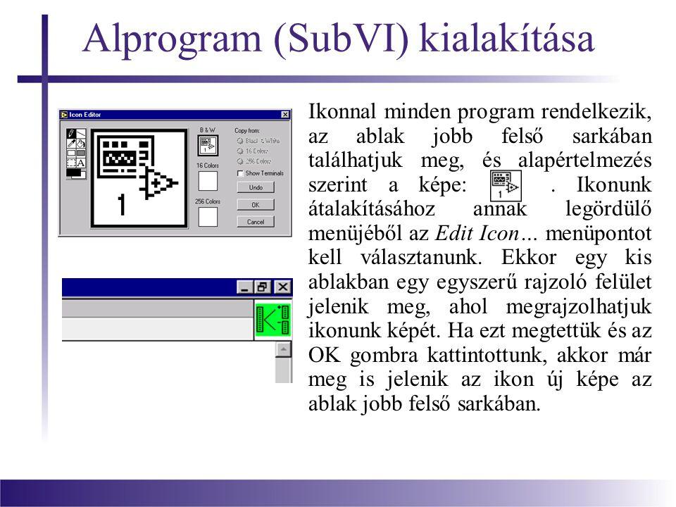 Alprogram (SubVI) kialakítása Ikonnal minden program rendelkezik, az ablak jobb felső sarkában találhatjuk meg, és alapértelmezés szerint a képe:. Iko