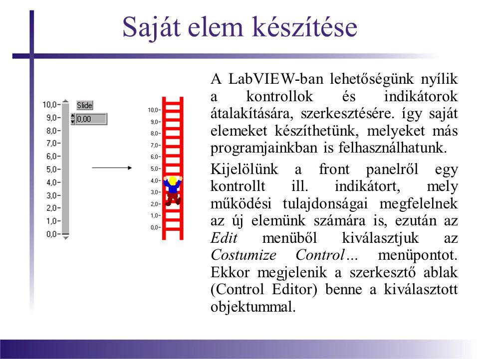 Saját elem készítése A LabVIEW-ban lehetőségünk nyílik a kontrollok és indikátorok átalakítására, szerkesztésére. így saját elemeket készíthetünk, mel