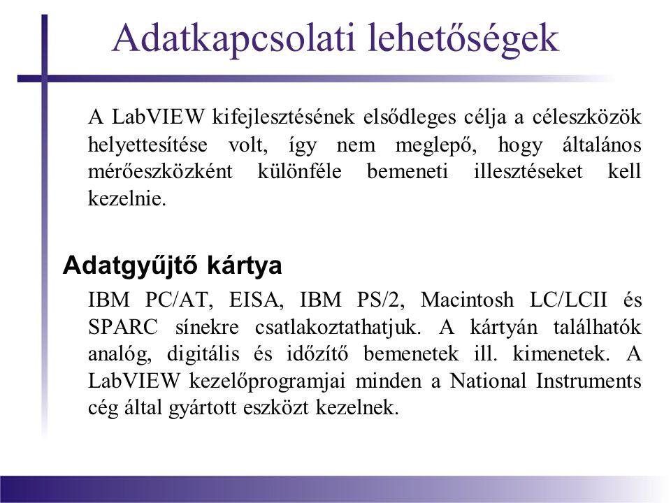 Adatkapcsolati lehetőségek A LabVIEW kifejlesztésének elsődleges célja a céleszközök helyettesítése volt, így nem meglepő, hogy általános mérőeszközké