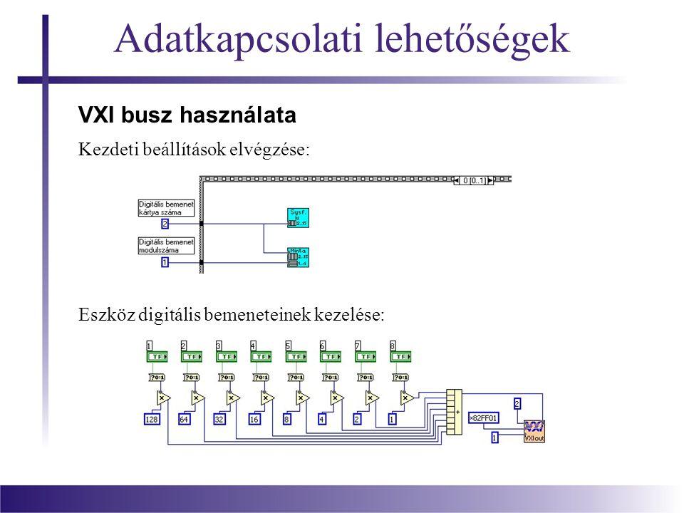 Adatkapcsolati lehetőségek VXI busz használata Kezdeti beállítások elvégzése: Eszköz digitális bemeneteinek kezelése: