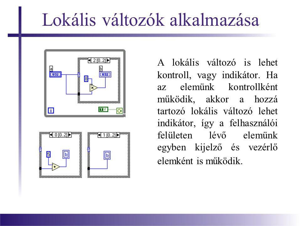 Lokális változók alkalmazása A lokális változó is lehet kontroll, vagy indikátor. Ha az elemünk kontrollként működik, akkor a hozzá tartozó lokális vá