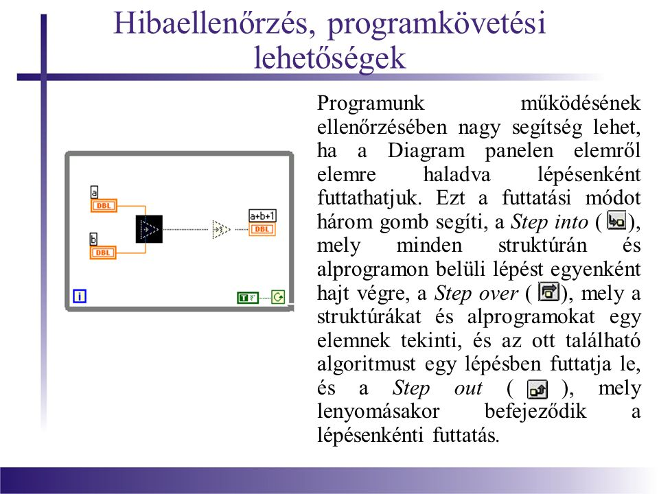 Hibaellenőrzés, programkövetési lehetőségek Programunk működésének ellenőrzésében nagy segítség lehet, ha a Diagram panelen elemről elemre haladva lép