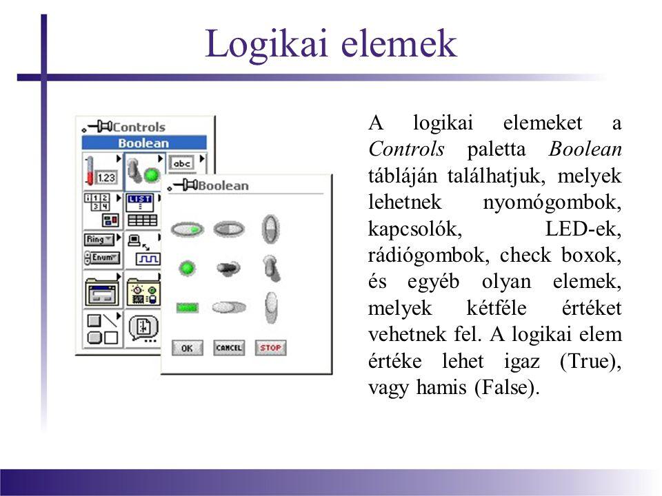 Logikai elemek A logikai elemeket a Controls paletta Boolean tábláján találhatjuk, melyek lehetnek nyomógombok, kapcsolók, LED-ek, rádiógombok, check boxok, és egyéb olyan elemek, melyek kétféle értéket vehetnek fel.