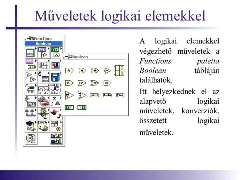 Műveletek logikai elemekkel A logikai elemekkel végezhető műveletek a Functions paletta Boolean tábláján találhatók.