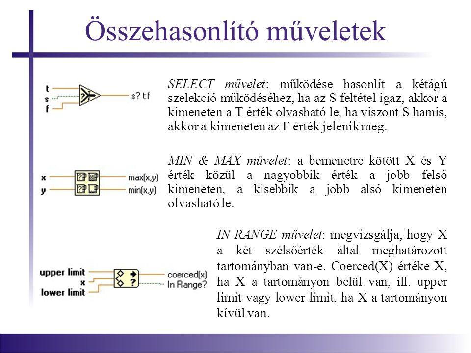 Összehasonlító műveletek SELECT művelet: működése hasonlít a kétágú szelekció működéséhez, ha az S feltétel igaz, akkor a kimeneten a T érték olvasható le, ha viszont S hamis, akkor a kimeneten az F érték jelenik meg.