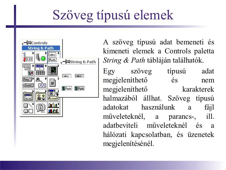 Szöveg típusú elemek A szöveg típusú adat bemeneti és kimeneti elemek a Controls paletta String & Path tábláján találhatók.