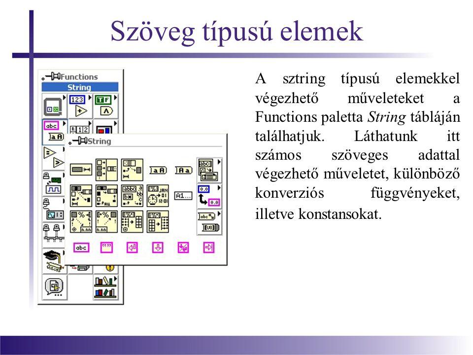 Szöveg típusú elemek A sztring típusú elemekkel végezhető műveleteket a Functions paletta String tábláján találhatjuk.