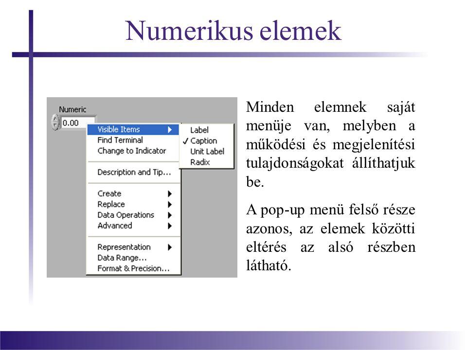 Numerikus elemek Minden elemnek saját menüje van, melyben a működési és megjelenítési tulajdonságokat állíthatjuk be.