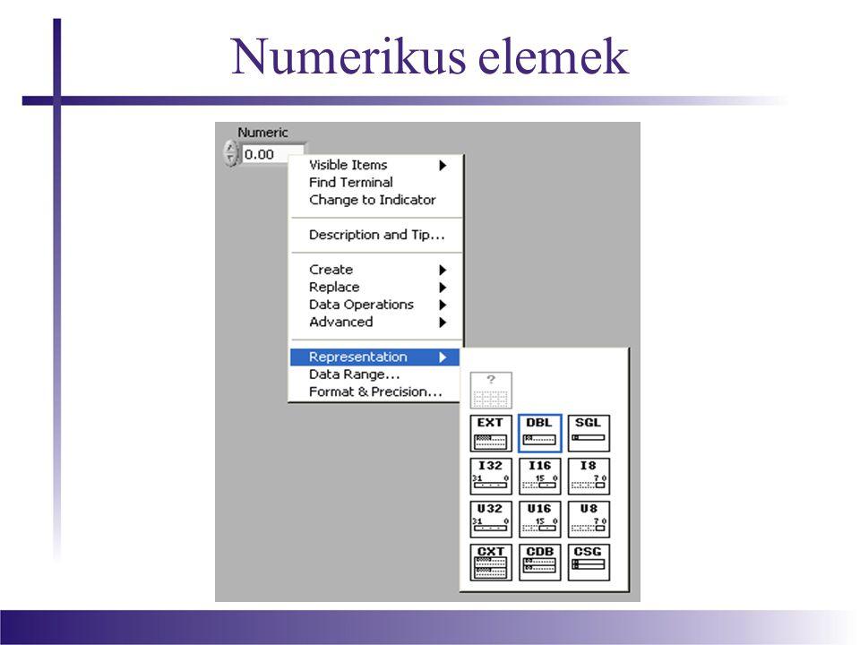 Műveletek numerikus elemekkel Ha szükségünk van rá, két szám között alkalmazhatunk konverziót, egész számból konvertálhatunk lebegőpontossá, vagy fordítva, előjelesből képezhetünk előjel nélkülit.