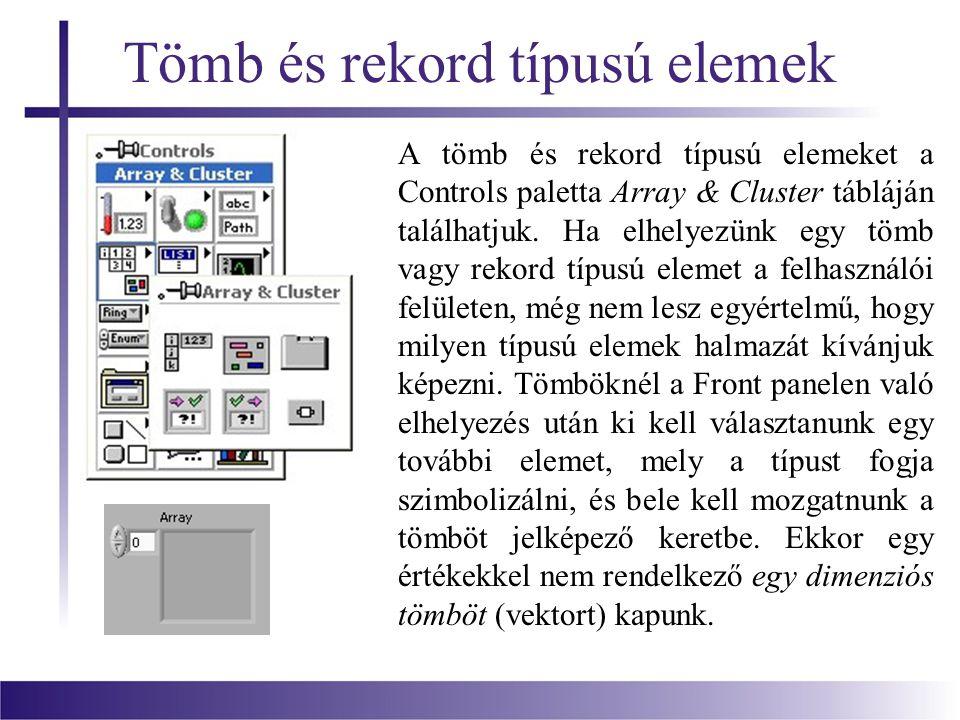 Tömb és rekord típusú elemek A tömb és rekord típusú elemeket a Controls paletta Array & Cluster tábláján találhatjuk.