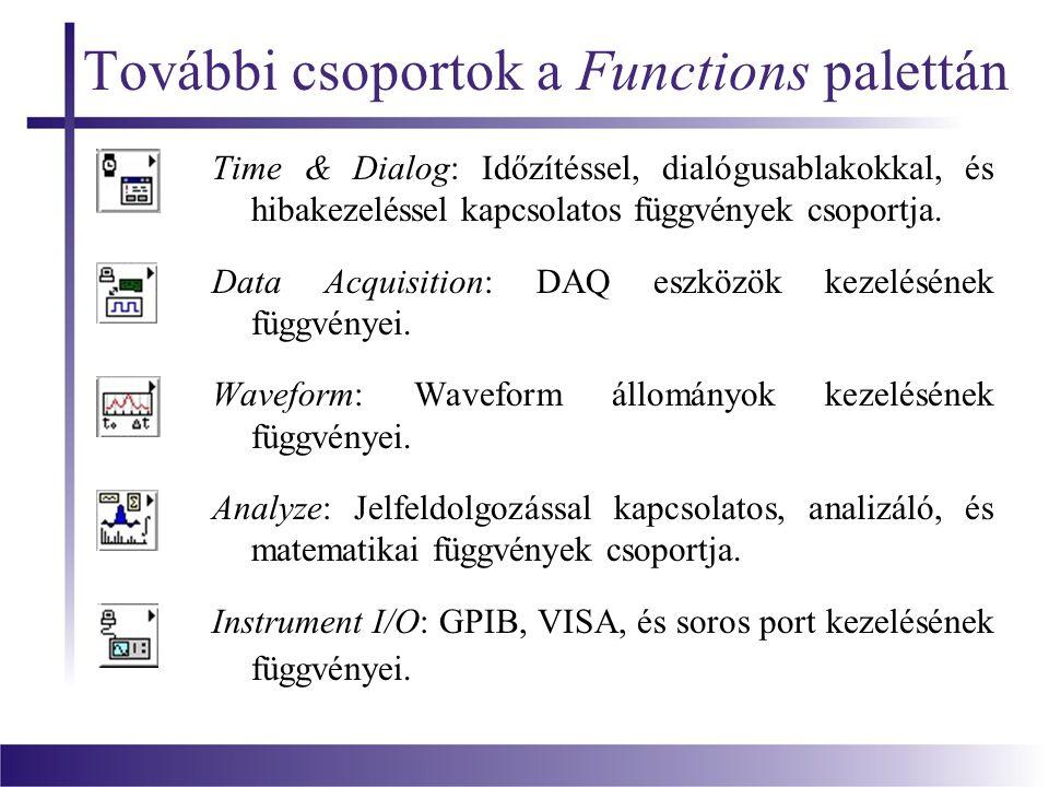 További csoportok a Functions palettán Time & Dialog: Időzítéssel, dialógusablakokkal, és hibakezeléssel kapcsolatos függvények csoportja.