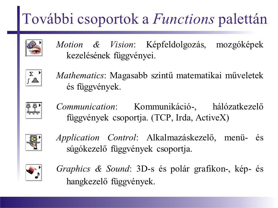 További csoportok a Functions palettán Motion & Vision: Képfeldolgozás, mozgóképek kezelésének függvényei.