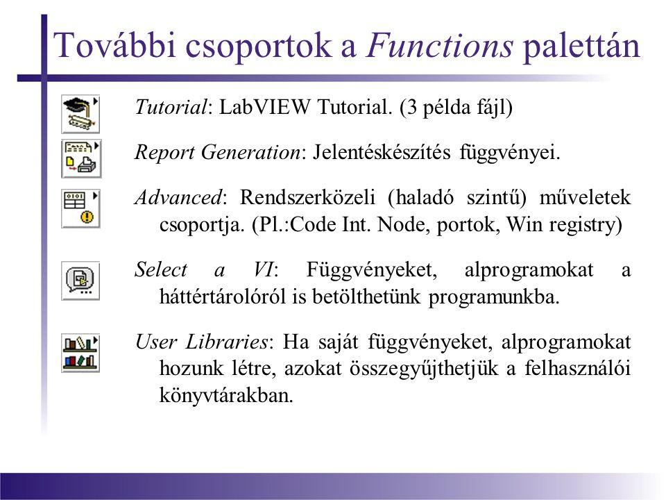 További csoportok a Functions palettán Tutorial: LabVIEW Tutorial.
