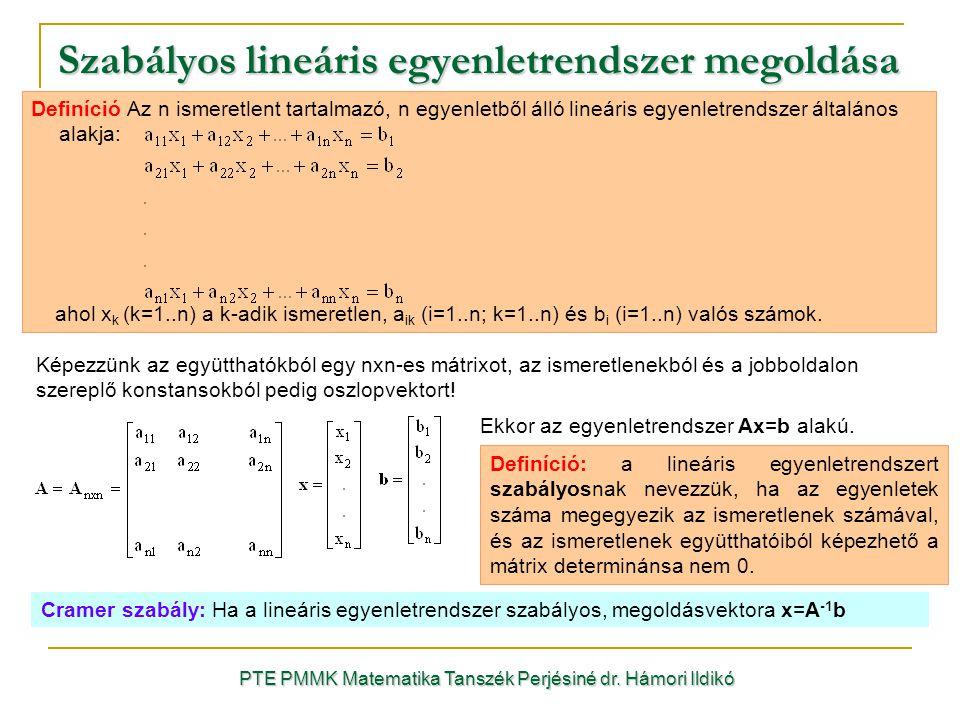 Képezzünk az együtthatókból egy nxn-es mátrixot, az ismeretlenekból és a jobboldalon szereplő konstansokból pedig oszlopvektort! Definíció Az n ismere