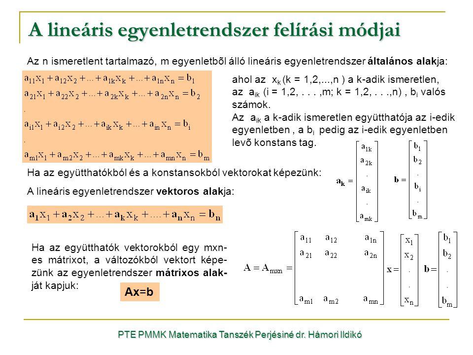 Ha az együtthatókból és a konstansokból vektorokat képezünk: A lineáris egyenletrendszer vektoros alakja: ahol az x k (k = 1,2,...,n ) a k-adik ismere