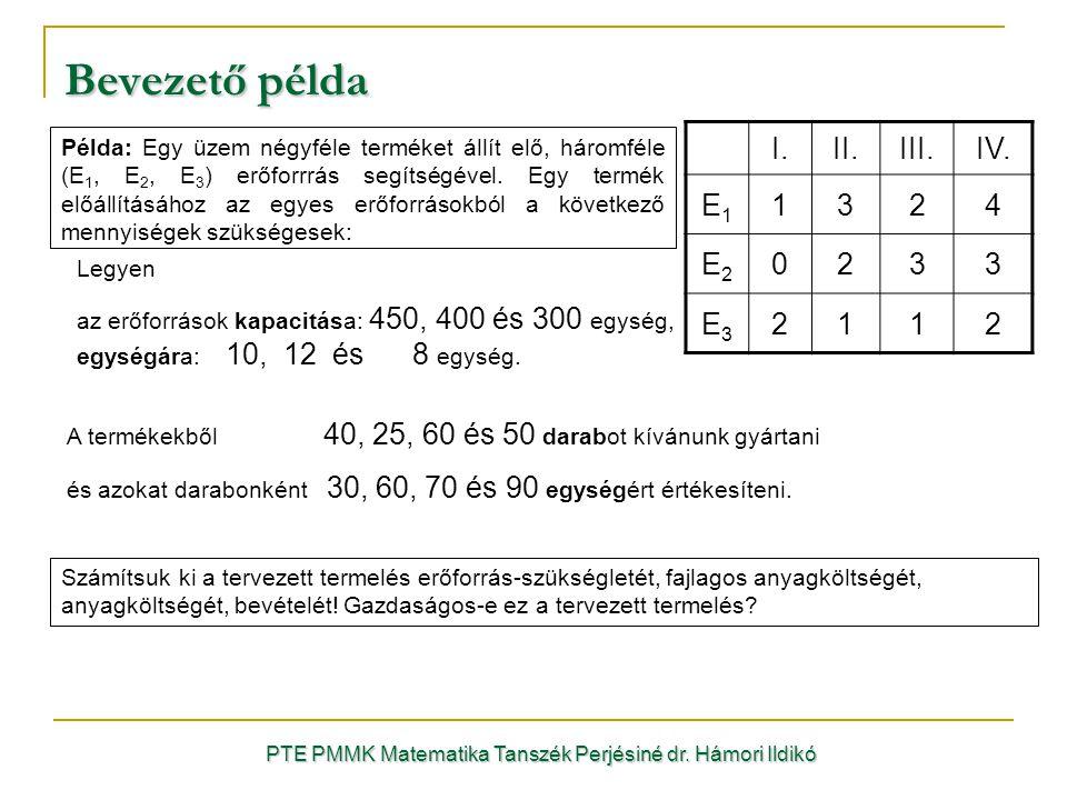 Bevezető példa Példa: Egy üzem négyféle terméket állít elő, háromféle (E 1, E 2, E 3 ) erőforrrás segítségével. Egy termék előállításához az egyes erő