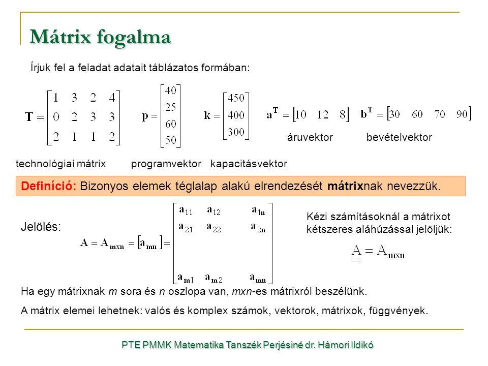 Mátrix fogalma Írjuk fel a feladat adatait táblázatos formában: PTE PMMK Matematika Tanszék Perjésiné dr. Hámori Ildikó technológiai mátrixprogramvekt