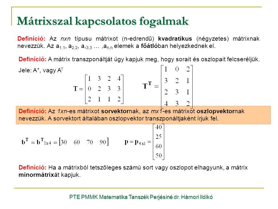Mátrixszal kapcsolatos fogalmak Definíció: Az nxn típusu mátrixot (n-edrendű) kvadratikus (négyzetes) mátrixnak nevezzük. Az a 1,1, a 2,2, a, 3,3 …,a