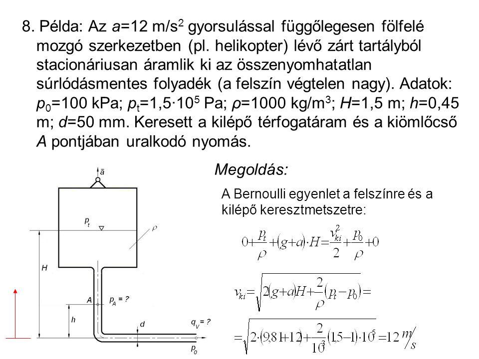 8. Példa: Az a=12 m/s 2 gyorsulással függőlegesen fölfelé mozgó szerkezetben (pl. helikopter) lévő zárt tartályból stacionáriusan áramlik ki az összen