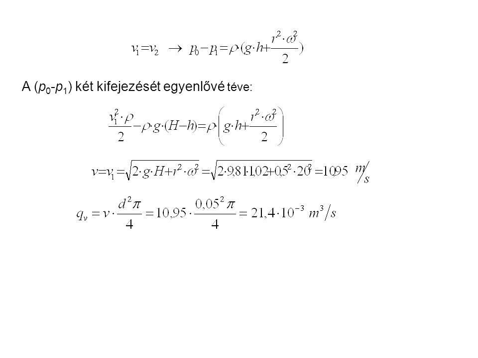 A (p 0 -p 1 ) két kifejezését egyenlővé téve:
