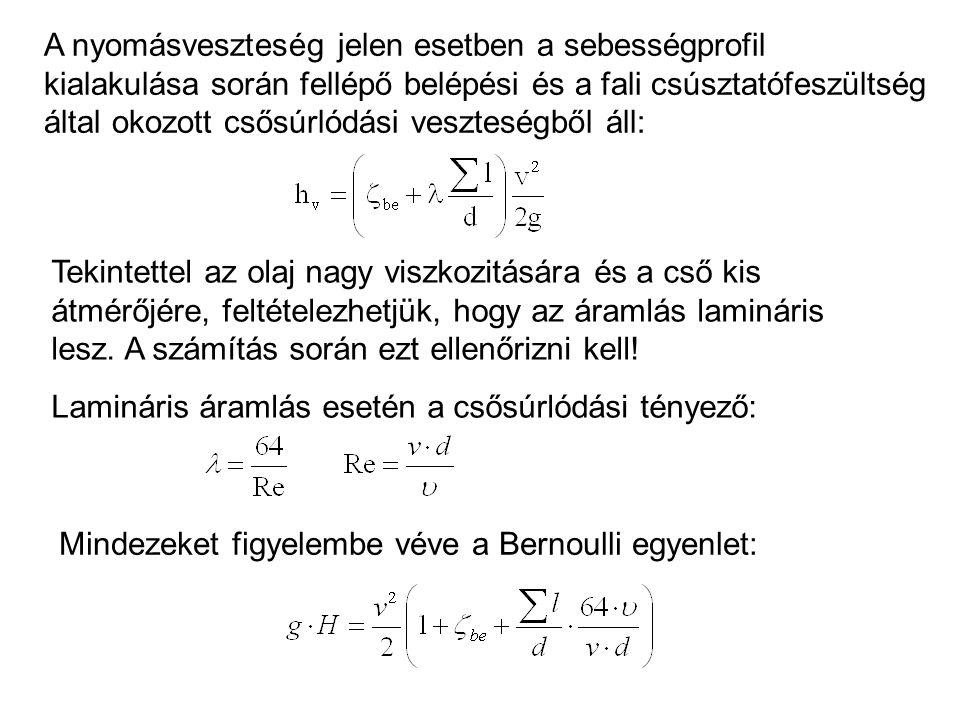 A másodfokú egyenlet kanonikus alakra hozva: Ellenőrizzük le a Reynolds-szám értékét: Tehát valóban lamináris az áramlás.