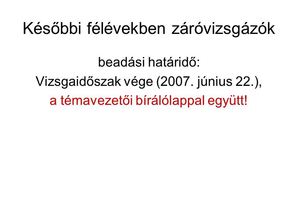 Későbbi félévekben záróvizsgázók beadási határidő: Vizsgaidőszak vége (2007. június 22.), a témavezetői bírálólappal együtt!