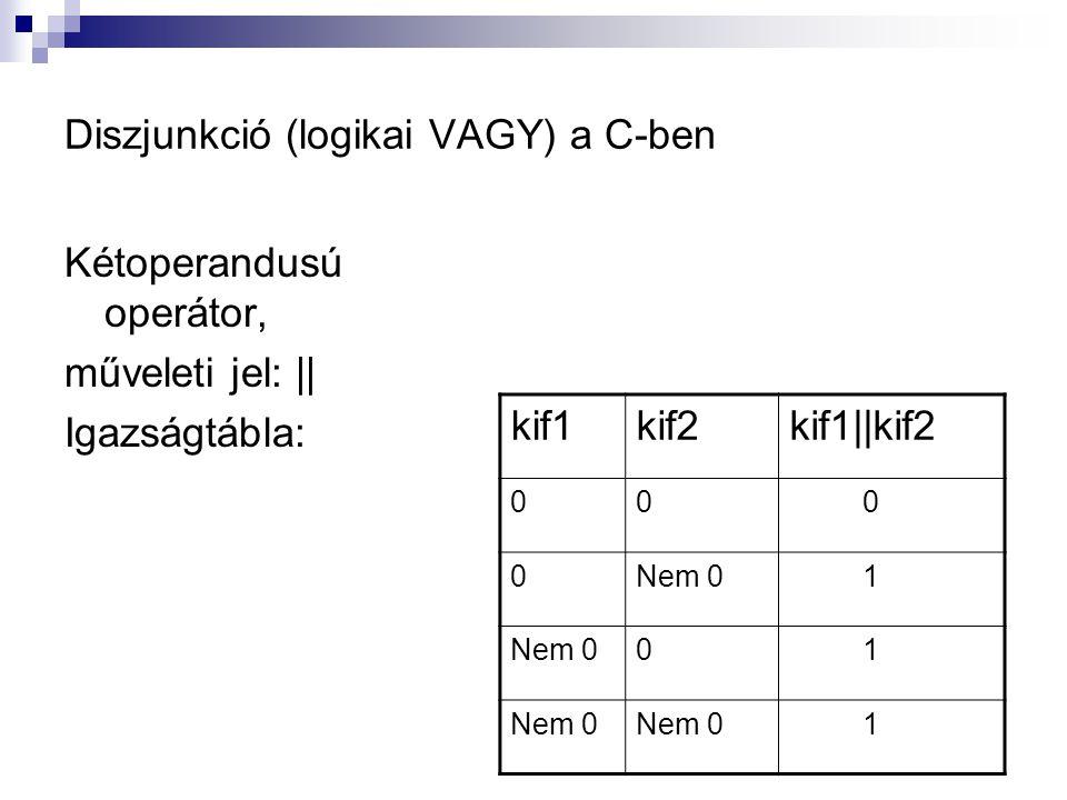 Diszjunkció (logikai VAGY) a C-ben Kétoperandusú operátor, műveleti jel: || Igazságtábla: kif1kif2kif1||kif2 00 0 0Nem 0 1 0 1 1