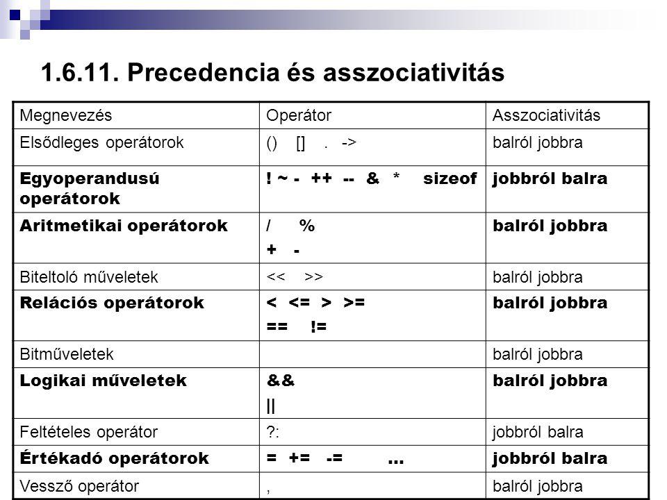 1.6.11. Precedencia és asszociativitás MegnevezésOperátorAsszociativitás Elsődleges operátorok() []. ->balról jobbra Egyoperandusú operátorok ! ~ - ++
