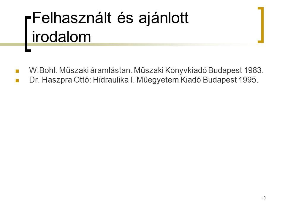 10 Felhasznált és ajánlott irodalom W.Bohl: Műszaki áramlástan. Műszaki Könyvkiadó Budapest 1983. Dr. Haszpra Ottó: Hidraulika I. Műegyetem Kiadó Buda