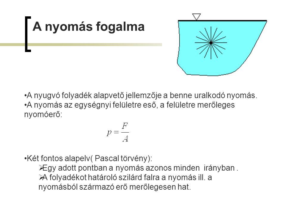 Sebesség és folytonosság Középsebesség v k (m/s) A (m 2 ) a vizsgált szelvény területe, v (m/s) az A szelvény általános pontjában uralkodó sebesség mint a hely függvénye, Az áramlás folytonossága Feltételei:  a folyadék összenyomhatatlansága és  az áramlás permanenciája (időállandósága).
