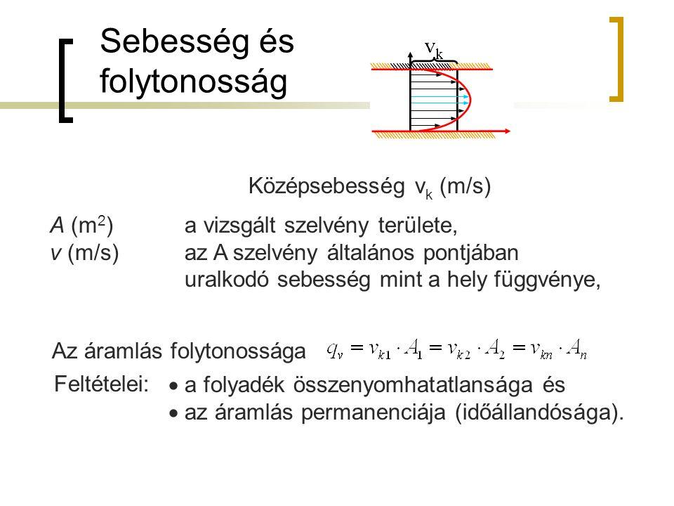 Sebesség és folytonosság Középsebesség v k (m/s) A (m 2 ) a vizsgált szelvény területe, v (m/s) az A szelvény általános pontjában uralkodó sebesség mi