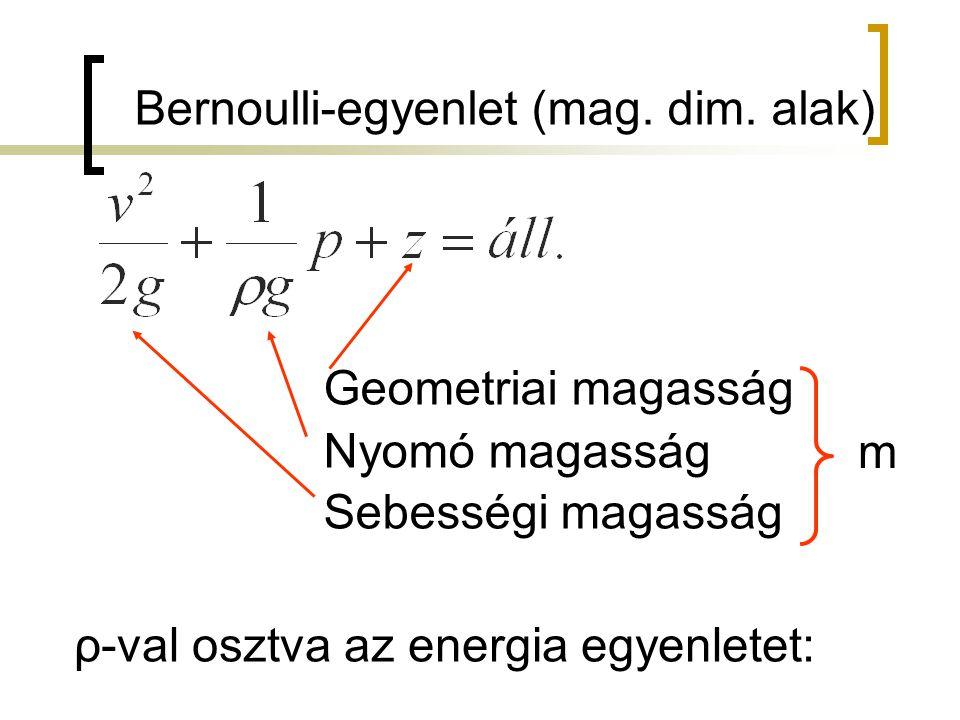 Bernoulli-egyenlet (mag. dim. alak) Geometriai magasság Nyomó magasság Sebességi magasság m ρ-val osztva az energia egyenletet: