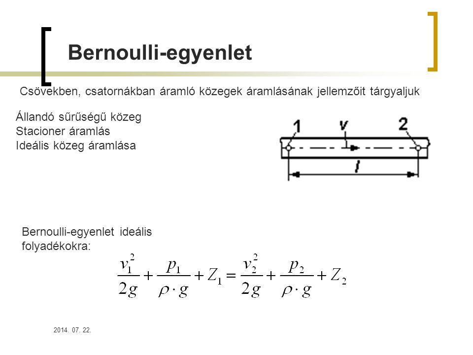 2014. 07. 22. Bernoulli-egyenlet Csövekben, csatornákban áramló közegek áramlásának jellemzőit tárgyaljuk Állandó sűrűségű közeg Stacioner áramlás Ide