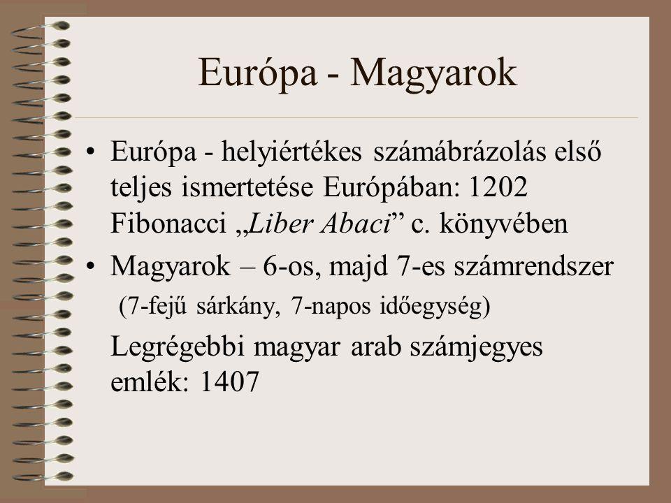 """Európa - Magyarok Európa - helyiértékes számábrázolás első teljes ismertetése Európában: 1202 Fibonacci """"Liber Abaci"""" c. könyvében Magyarok – 6-os, ma"""