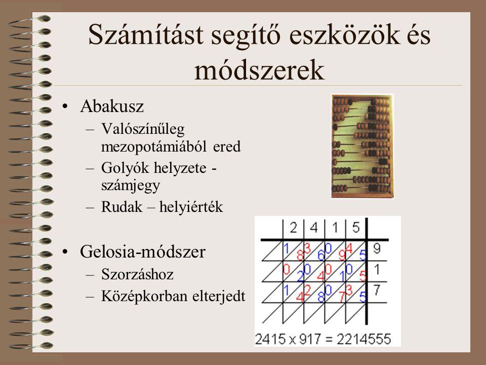 Számítást segítő eszközök és módszerek Abakusz –Valószínűleg mezopotámiából ered –Golyók helyzete - számjegy –Rudak – helyiérték Gelosia-módszer –Szor