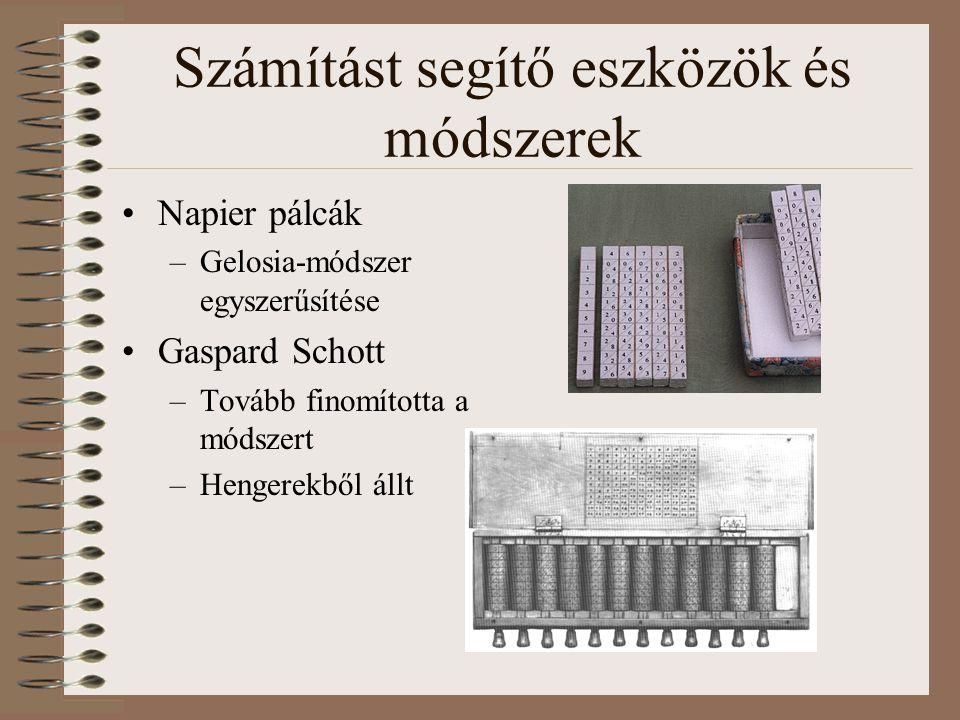 Számítást segítő eszközök és módszerek Napier pálcák –Gelosia-módszer egyszerűsítése Gaspard Schott –Tovább finomította a módszert –Hengerekből állt