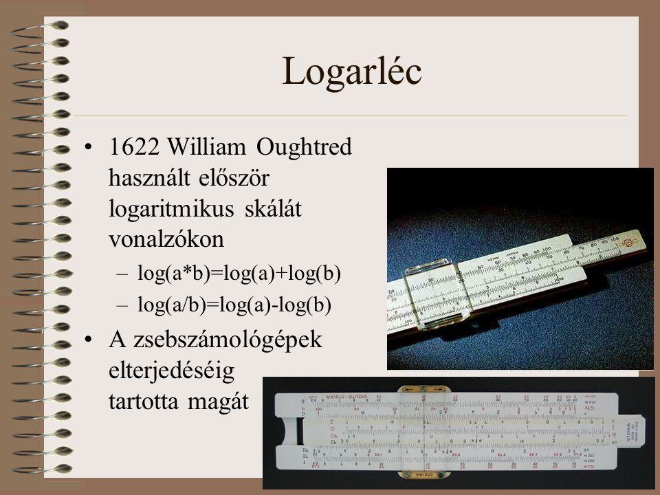 Logarléc 1622 William Oughtred használt először logaritmikus skálát vonalzókon –log(a*b)=log(a)+log(b) –log(a/b)=log(a)-log(b) A zsebszámológépek elte