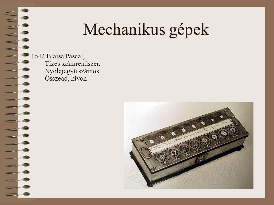 Mechanikus gépek 1642 Blaise Pascal, Tízes számrendszer, Nyolcjegyű számok Összead, kivon