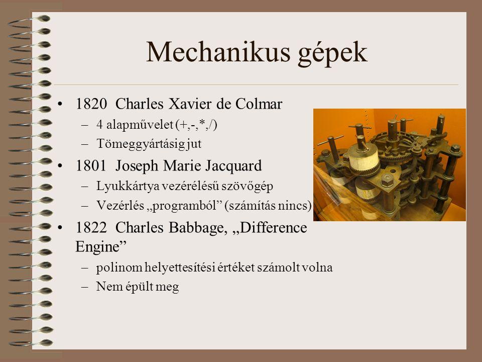 Mechanikus gépek 1820 Charles Xavier de Colmar –4 alapművelet (+,-,*,/) –Tömeggyártásig jut 1801 Joseph Marie Jacquard –Lyukkártya vezérélésű szövőgép