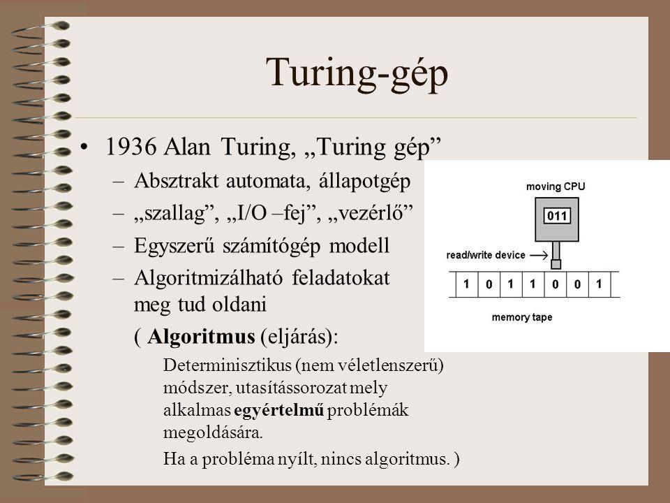 """Turing-gép 1936 Alan Turing, """"Turing gép"""" –Absztrakt automata, állapotgép –""""szallag"""", """"I/O –fej"""", """"vezérlő"""" –Egyszerű számítógép modell –Algoritmizálh"""