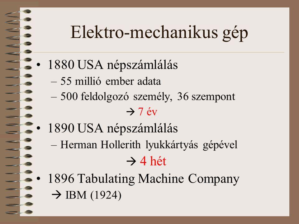 Elektro-mechanikus gép 1880 USA népszámlálás –55 millió ember adata –500 feldolgozó személy, 36 szempont  7 év 1890 USA népszámlálás –Herman Hollerit