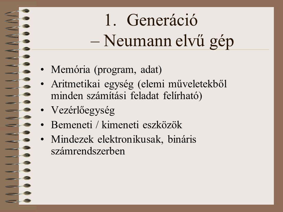 1.Generáció – Neumann elvű gép Memória (program, adat) Aritmetikai egység (elemi műveletekből minden számítási feladat felírható) Vezérlőegység Bemene