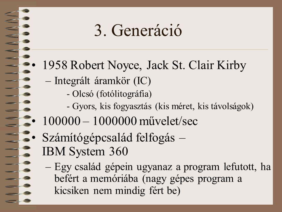 3. Generáció 1958 Robert Noyce, Jack St. Clair Kirby –Integrált áramkör (IC) - Olcsó (fotólitográfia) - Gyors, kis fogyasztás (kis méret, kis távolság