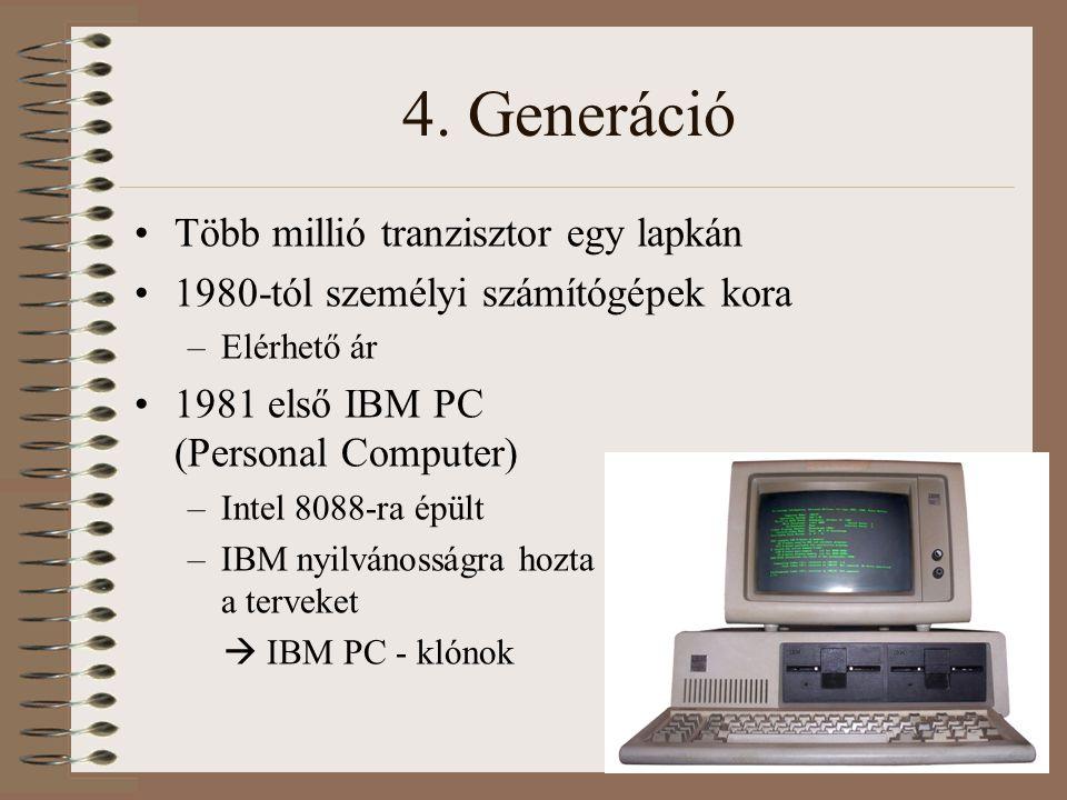 4. Generáció Több millió tranzisztor egy lapkán 1980-tól személyi számítógépek kora –Elérhető ár 1981 első IBM PC (Personal Computer) –Intel 8088-ra é