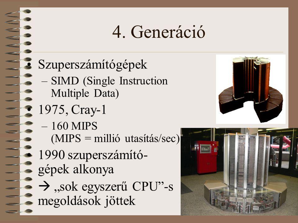 4. Generáció Szuperszámítógépek –SIMD (Single Instruction Multiple Data) 1975, Cray-1 –160 MIPS (MIPS = millió utasítás/sec) 1990 szuperszámító- gépek